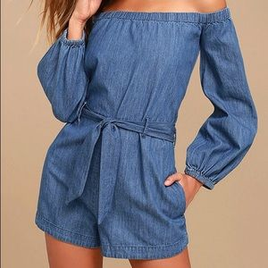 Free People Chambray Jean Blue Romper